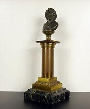 Sculpture XIX en bronze petit buste sur colonne dorée Bust on gilded column 19cm