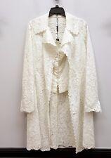 ELIE TAHARI Size L White Ivory Lace Eyelet Duster Jacket Hook & Eye Corset Top