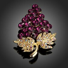 Purple Grapes Bunch With Diamante Leaves Brooch Pin for Women Girls Mj0027