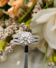 Engagement Ring Wedding Set 2.25cttw. New listing 14kwg Forever One Halo Moissanite