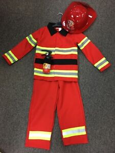 Fireman,Fire fighter Costume 4pc Set Red Dress Up,Role Play, Book Day Amazing