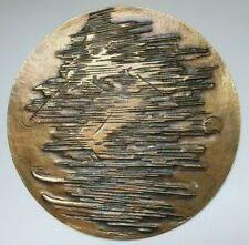 "France large uniface bronze art medal / plaque ""SKIER"" by Vic Daumas, 191 mm, 50"