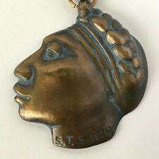 VTG S.T. Smith Signed Bronze Profile Sculpture Medal Prix de West Art NAWA 1991