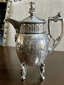 "Rare ornate 1800's Reed And Barton aesthetic Figural Silverplate 8"" Creamer 2666"
