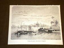 Nel Siam nel 1893 Veduta del porto e dei dock di Bangkok Thailandia