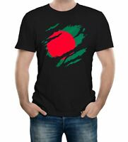 Mens Torn Bangladesh Flag T-Shirt Bangladeshi Cricket Sport Support Proud