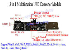 3in1 5V 3.3V Serial Converter Board USB To RS485 RS232 TTL Serial Module CP2102