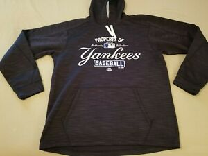 Mens Majestic New York Yankees Hoodie Sweater M Medium Navy Blue Athletic
