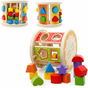 Match Roll Shape Sorter Classic Wooden Toy Sturdy Wood Construction Gift Toddler