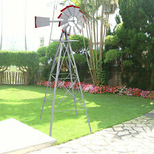 8Ft Tall  Windmill Ornamental Wind Wheel Silver Gray And Red Garden Weather Vane