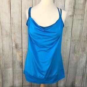 Fabulous Blue LUCY.COM Drape Yoga Top Size L (12) VGC
