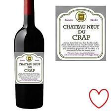 Novelty Joke Wine Bottle Bag Funny Label Christmas Chateau Neuf De Crap
