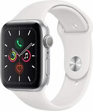 Apple Watch Series 5 - GPS 44mm, Silver Aluminum Case, White Sport Band (Sealed)