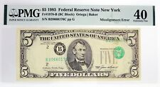 Series Of 1985 $5 FRN New York Fr#1978-B Overprint Misalignment Error PMG XF40