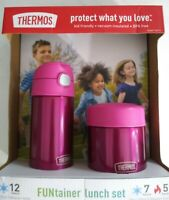 FUNtainer Thermos Lunch Set Pink 12 oz Bottle and 10 oz Food Jar Kids Friendly