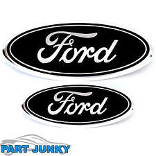 "2004-2014 Ford F-150 9"" Front Grille & 7"" Rear Tailgate Emblem Oval Logo BLACK"