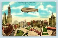 New York City, NY - EARLY 1900s AERIAL - ZEPPELIN OVER CITY - POSTCARD - M4