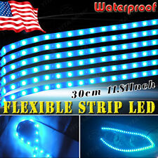 6X Flexible Strip 30cm 15 LED Ice Blue Car Motorcycle Light Waterproof 12V US