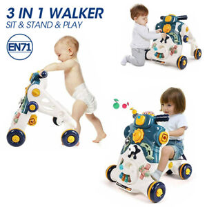 3 in 1 Kids Baby Toddler Walker Ride on Toy Step Develop Game Panel Activity
