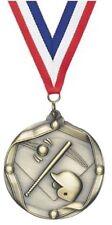 "2.25"" Antique Gold Baseball Medallion Red/White/Blue Ribbon Free Engraving"