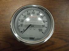 "WIKA Pressure Gauge 9737154 1/2"" 0-100PSI   1/2""NPT LBM"