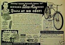 1957 Monark Silver King Bike/Bicycle Southern Card AD