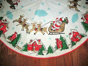 "VT RETRO 36"" FELT SEQUIN SANTA SLEIGH REINDEER CHRISTMAS TREE SKIRT TABLECLOTH"
