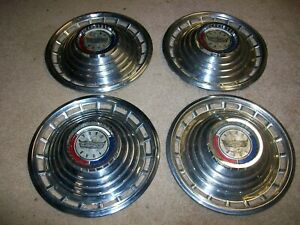 "1963 63 FORD GALAXIE 500 4-14"" HUBCAPS WHEEL COVERS NICE!"
