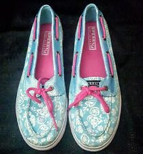 Sperry Top-Sider Biscayne 1 Eye Blue Glitter Floral Boat Shoes Size 5
