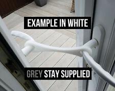 GREY French Door Stay, Hold Open, Patio Door Holder, Restraint, Easy fit.