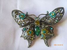 Vintage Bronze Brass Multi Color Navette Figural Glass Rhinestone Butterfly