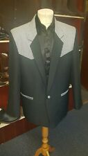 Mens Box Jacket Black With Black and White Dog ToothTrim
