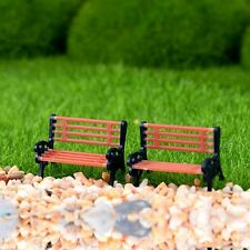 2 pcs Miniature Fairy Garden Chair Bench tiny Furniture Dollhouse Decor