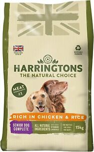 Harringtons Senior Dry Dog Food Complete Balanced Rich in Chicken Rice 15 kg Bag