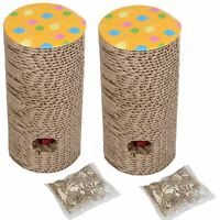 2xClaw 'N' Roll Scratch Pad Cat Scratcher Interactive Toy With Catnip 9x18.5cm