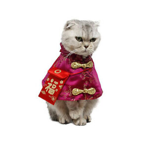 Cat Chinese New Year Costume,Pet Cat New Year Clothes Cloak with Red Bag