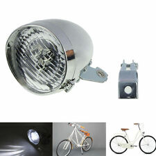Retro Bicycle Bike Accessory Front Light Bracket Vintage 3 LED Headlight Silver