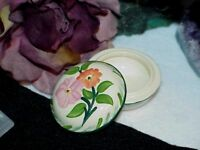 Vintage England Pottery Floral Round Hand Painted Trinket Box Signed F Antique