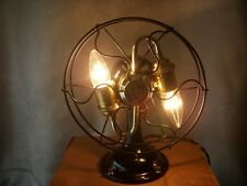 VINTAGE INDUSTRIAL ROBBINS / MYERS FAN CONVERTED TO A TABLE LAMP STEAMPUNK