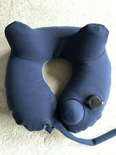 Inflatable Neck Travel Pillow - Soft Washable Cover - pump to inflate