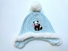 Janie and Jack Girls Snowflake Panda 12-24 mo Hat Cap Aqua Fur Trim NG1-55