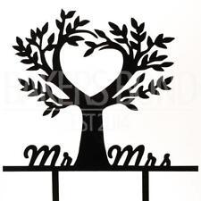 El Sr. & Sra. Love Tree Negro naturaleza Acrílico día de boda Cake Topper Silueta