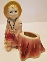 VINTAGE PLANTER Fishing Boy Standing Next To Tree Stump MINT CONDITION