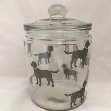 BLACK LABRADOR DESIGNS ON LARGE GLASS TREATS JAR