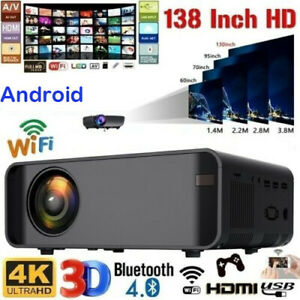 1080P 3D LED 4K Android Wifi Video Home Theater Projector Cinema HDMI 18000Lumen