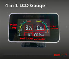 4in1 LCD Digital Car Display Kit Voltmeter Water Temp Oil Pressure Fuel Gauges