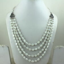 Necklace natural white rainbow moonstone gemstone jewelry fine beaded jewelry