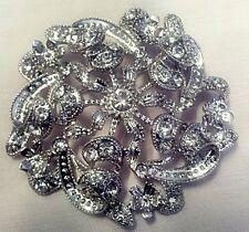 stunning  Rhodium crystal flower  brooch.bridal...5.5cm
