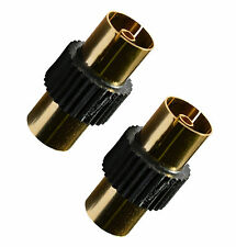 BLACK MULTI x2 Coaxial TV  Aerial Female Coupler F/F Gold Push on Gender Changer