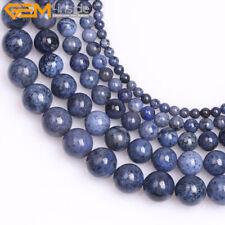 Natural Round Dark Blue Dumortierite Stone Semi Precious Beads Jewelry Making